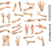 collage of woman hands | Shutterstock . vector #742025335