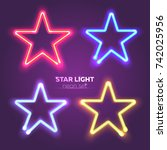 neon star set. bright colorful... | Shutterstock .eps vector #742025956