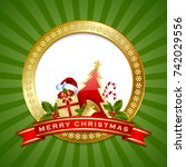 golden merry christmas plaque... | Shutterstock .eps vector #742029556