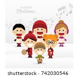 group of children singing... | Shutterstock .eps vector #742030546