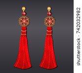 illustration of earrings from... | Shutterstock .eps vector #742032982
