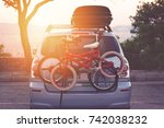 family car with small kids... | Shutterstock . vector #742038232