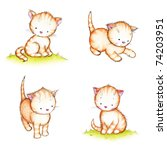 Stock photo collection of four cute kittens on white background 74203951
