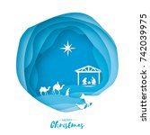 birth of christ. baby jesus in... | Shutterstock .eps vector #742039975