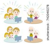 family 3 generations internet... | Shutterstock .eps vector #742040278
