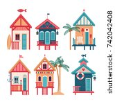 summer card with beach huts.... | Shutterstock .eps vector #742042408