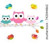 owls on a branch with birds | Shutterstock .eps vector #742044862