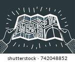 vector cartoon outline... | Shutterstock .eps vector #742048852