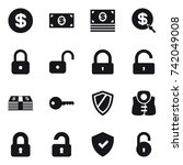 16 vector icon set   dollar ... | Shutterstock .eps vector #742049008