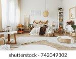 roomy  stylish bedroom interior ... | Shutterstock . vector #742049302