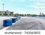 asphalt road circuit and sky... | Shutterstock . vector #742063852