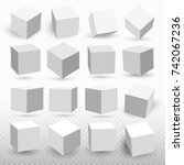 a set of cube icons with a...