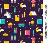 girls sleepover pattern.... | Shutterstock .eps vector #742082305