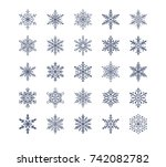cute snowflakes collection... | Shutterstock .eps vector #742082782
