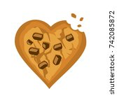 abstract cookie chocolate chip... | Shutterstock .eps vector #742085872