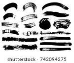 set of black paint  ink brush... | Shutterstock .eps vector #742094275