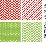 christmas seamless patterns.... | Shutterstock .eps vector #742095886