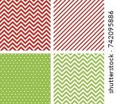 christmas seamless patterns.... | Shutterstock .eps vector #742095886