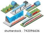 isometric railway transport... | Shutterstock .eps vector #742096636