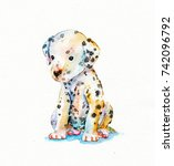 Stock photo watercolor textured puppy of dalmatian isolated on white 742096792