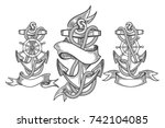 hand drawn anchor set. three... | Shutterstock .eps vector #742104085