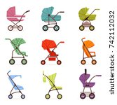 baby stroller set  different... | Shutterstock .eps vector #742112032