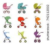 baby stroller set  different...   Shutterstock .eps vector #742112032