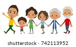 hand holding family three... | Shutterstock .eps vector #742113952