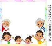 family three generations black... | Shutterstock .eps vector #742114132