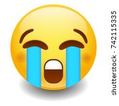 loudly crying emoji smiley face ... | Shutterstock .eps vector #742115335