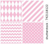 tile pink and white vector...   Shutterstock .eps vector #742118122