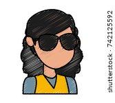 girl faceless cartoon | Shutterstock .eps vector #742125592