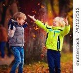 delighted happy school kids... | Shutterstock . vector #742127512