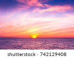 night is coming burning skies  | Shutterstock . vector #742129408