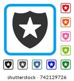 guard shield icon. flat gray...   Shutterstock .eps vector #742129726