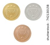 gold  silver  bronze medals set....   Shutterstock . vector #742130158