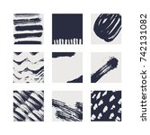 abstract brush cards set | Shutterstock .eps vector #742131082