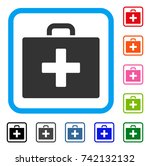First Aid Bag Icon. Flat Grey...