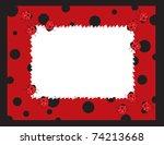A Frame Designed With Ladybugs.