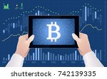 crypto currency of bitcoin  ... | Shutterstock .eps vector #742139335