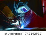welder  craftsman  erecting... | Shutterstock . vector #742142932