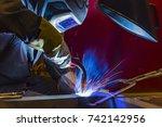 welder  craftsman  erecting... | Shutterstock . vector #742142956