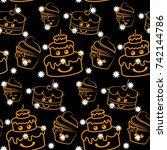 white stars on a black... | Shutterstock .eps vector #742144786