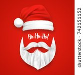 realistic santa claus christmas ... | Shutterstock .eps vector #742151152