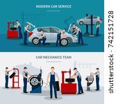 car service horizontal banners... | Shutterstock .eps vector #742151728