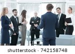 image is blurred.the manager... | Shutterstock . vector #742158748