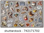 set of winter season cartoon... | Shutterstock .eps vector #742171702