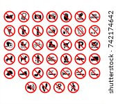 high detailed prohibition signs ... | Shutterstock .eps vector #742174642