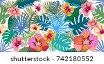 fantasy tropical paradise.... | Shutterstock .eps vector #742180552