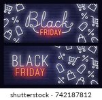 set web banner black friday.... | Shutterstock .eps vector #742187812